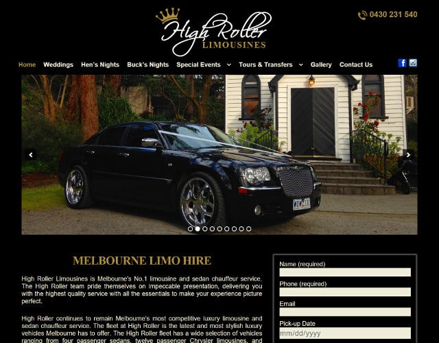 website design for high rollet limousines