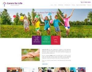 testimonial carers for life web design
