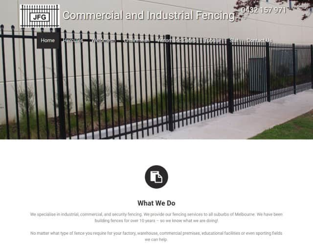 web design jfg commercial and industrial fencing