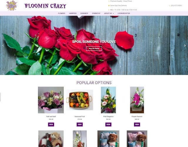web design bloomin crazy