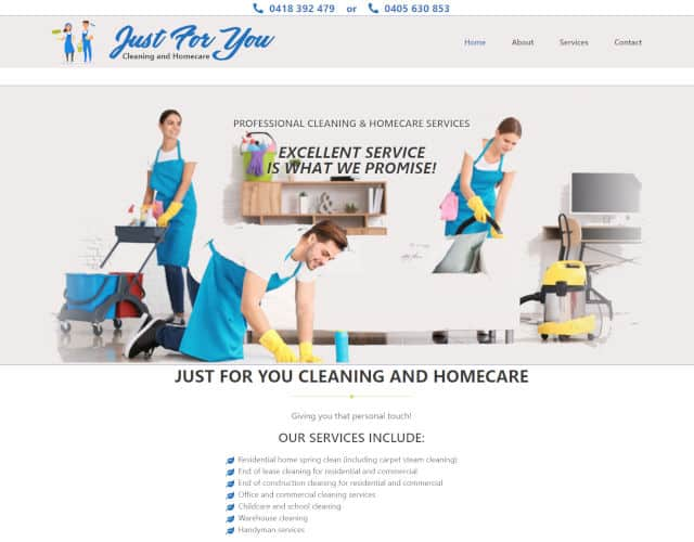web design just for you cleaning