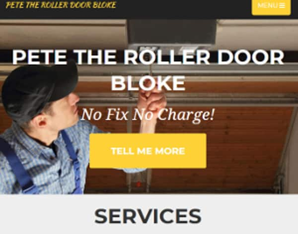 web design pete the roller door bloke