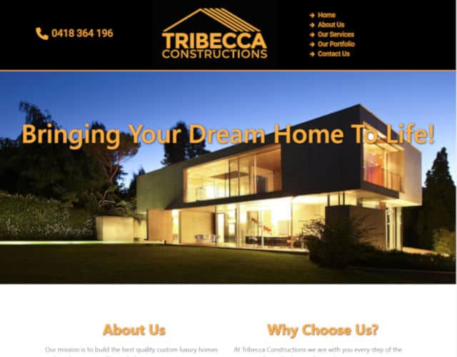 web design tribecca constructions