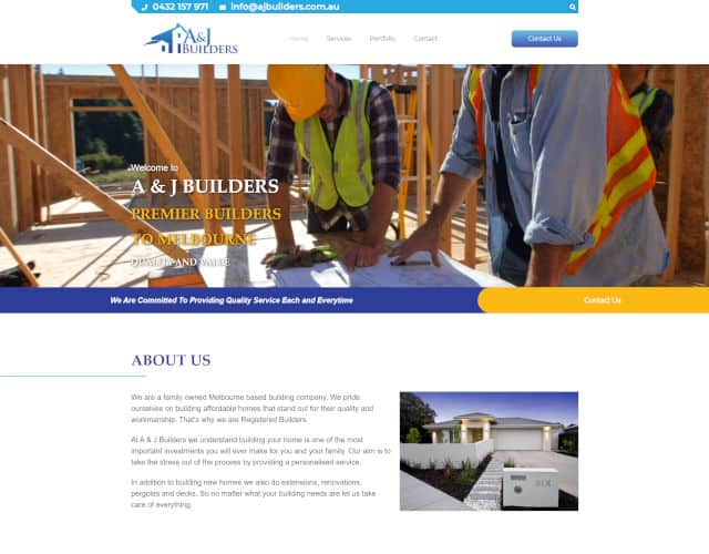 web design a and j builders